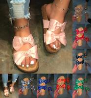 LADIES WOMENS FLATFORM SUMMER BOW SLIDERS SLIP ON MULE SLIPPERS SANDALS SHOES