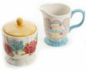 The Pioneer Woman Blossom Jubilee Cream & Sugar Bowl Set Floral Geo Medallions