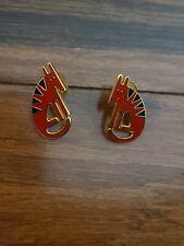 """Vtg Laurel Burch """"Terra"""" Red Black Enamel Post Earrings Dog Coyote Evc. B015"""