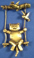 Cat on Swing Pin Brooch Jonette Birds Signed JJ