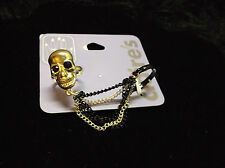 Skull Head Slave Ring 2 finger ring new silver and black fashion skeletons goth