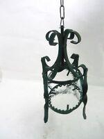 Lanterna lampada con 4 vetri tonda in ferro battuto