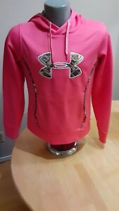 Under Armour EUC Pink Pullover Camo Logo Drawstring Hoody Semi Fitted Sz Small