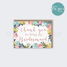 Bridesmaid Card | Thank you for being my bridesmaid