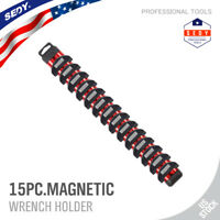 "17"" Magnetic Wrench Holder For 15 Spanner Tool Rack Stubby Screwdriver Organizer"