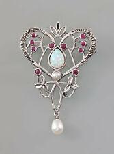 9907382 925er Silber Brosche Jugendstil mit Opalen Rubinen und Zuchtperlen