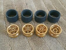 Lego Parts Pieces Wheel Gold.  #56145 & Tire 37 x 22  LOT of 4  sets