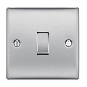 BG Electrical Single Gang 2 Way Light Switch - Brushed Steel NBS12 Nexus Metal