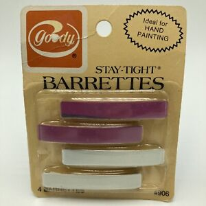 """Vintage 1970s Goody Stay Tight Barrettes Metal 2.25"""" Orchid White Pkg 4 NOS 906"""