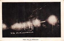 Mishawaka Indiana~2nd Street at Night~Dry Goods & Shoe Store~Postcard B&W 1910