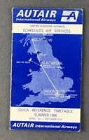 AUTAIR INTERNATIONAL AIRWAYS QUICK REFERENCE AIRLINE TIMETABLE SUMMER 1966