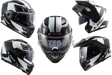 LS2 FF324 WHITE/BLACK METRO FLIP ADVENTURE MOTORCYCLE MULTI DROP VISOR PINLOCK