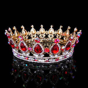 5cm High Ruby AB Red Luxury Crystal Gold Queen Crown Wedding Prom Party Pageant