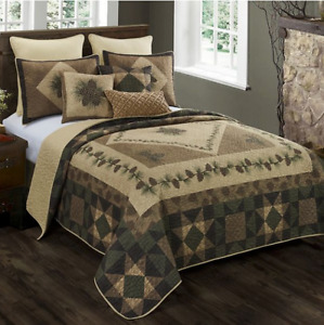 Donna Sharp ANTIQUE PINE Quilted Full / Queen / King 3 Pc Set NEW