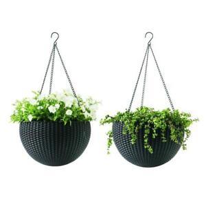 Brown Resin Hanging Rattan Planter 2-Pack Plastic Pot Garden Basket 13.8 in. Dia