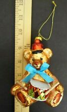 """Glass Teddy Bear Christmas Ornament With Blue Bow & Drum New 4.5"""""""