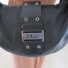 Christian-Dior Black Leather Hobo Shoulder Handbag Purse