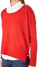 French Connection Vhari Scoop Neck Hi-Low Hem Jumper Sweater Red S Nwt $108