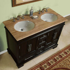 48-inch Compact Double Sink Travertine Stone Top Bathroom Vanity Cabinet 0224TR