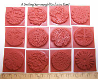 """12pc Round Unmounted 1"""" Texture Rubber Stamps for Polymer, PMC, Paper,  Clay"""