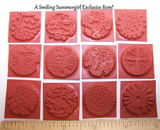 "12pc Round Unmounted 1"" Texture Rubber Stamps for Polymer, PMC, Paper,  Clay"