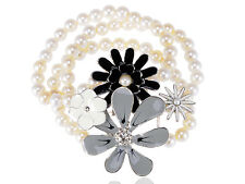 Silver Faux Pearl Black Gray Enamel Floral Wrap Around Rhinestune Bracelet Chain