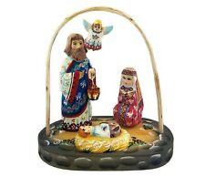 Nativity of Christ Holy Family Wooden Hand Carved Painted Russian Nativity Set