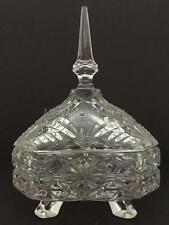 Vintage Hand Cut Clear Lead Crystal Footed Covered Candy Dish - German