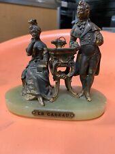 """Le Cadeau Gilt Art Deco Bronze & Marble Sculpture of Gentleman Lady Statue 6""""x5"""""""