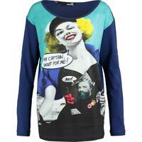 Designer LOVE MOSCHINO Teal & Navy Pop Art Long Sleeve Top - size UK 10 / IT 42