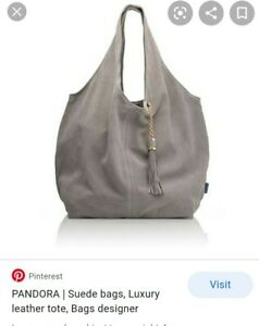 Russell And Bromley Luxury Grey Suede Leather Sac Tote Handbag. Weighted chain