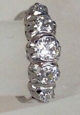 ANTIQUE EDWARDIAN FIVE STONE OLD MINE DIAMOND ANNIVERSARY RING BAND SOLID 18K WG