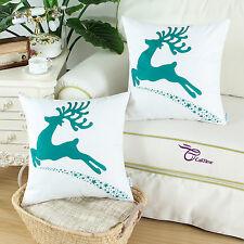Set of 2 Cushion Covers Pillow Shells Teal Christmas Moose Print Sofa Decor 45cm