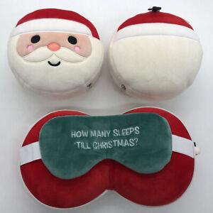 Relaxeazzz Plush Christmas Santa Round Travel Pillow & Eye Mask with handy hook