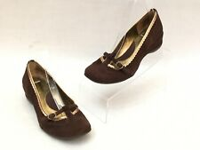 Kenneth Cole Reaction Keep Going Brown Suede Mary Jane Shoes Womens Size 6 1/2 M