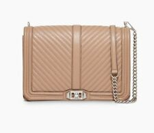New Rebecca Minkoff CHEVRON Jumbo Love Quilted Leather Large Shoulder Bag CAMEO