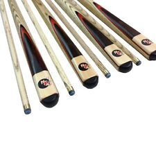 FULL ASH Pool Snooker Billiard Cue Stick Set 4 x Two Piece Cues Red Wood Flame