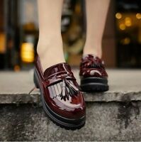 Roman Womens Tassel Patent Leather Creeper Slip On Loafers Platform Casual Shoes