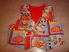 Children's Boys or Girls Fall Scarecrow Holiday Vest Handmade - Size 3 or 4