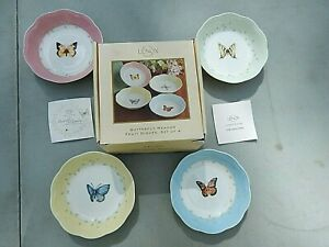 LENOX BUTTERFLY MEADOW PATTERN SET OF 4 FRUIT DISHES/BOWLS IN ORIGINAL BOX!