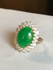 Green Jade In 14k Solid Gold Ring
