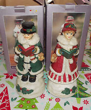 Man & Woman Carolers by Classic Treasures both play Joy to the World