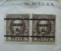 Two 1920's Precancel Chicago Ill Nathan Hale 1/2 Cent Stamps