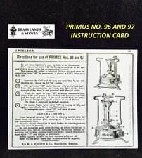 PRIMUS STOVE INSTRUCTIONS FOR 96 97