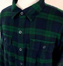 L.L. Bean Mens Plush Fleece Lined Flannel Shirt Green Tartan Plaid XXL Tall 2XLT