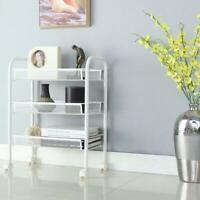 3-Tier Metal Mesh Rolling Trolley Storage Rack Organizer Home Kitchen Shelves US