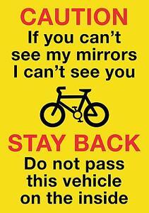 HGV/VAN/COACH Cyclists Warning Sticker 21x15cm Screen Printed Free 1st class P&P