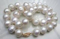 """HUGE AAA+ 11-12MM South Sea White Baroque Pearl Necklace 18""""14k GOLD CLASP"""