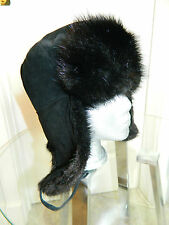 NEW BLACK MUSKRAT FUR MEN HAT RUSSIAN CHAPKA TRAPPER Sz. 22.5'' S 5