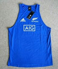 *ALL SIZES* Adidas ALL BLACKS Blue RUGBY VEST SINGLET shirt NEW ZEALAND